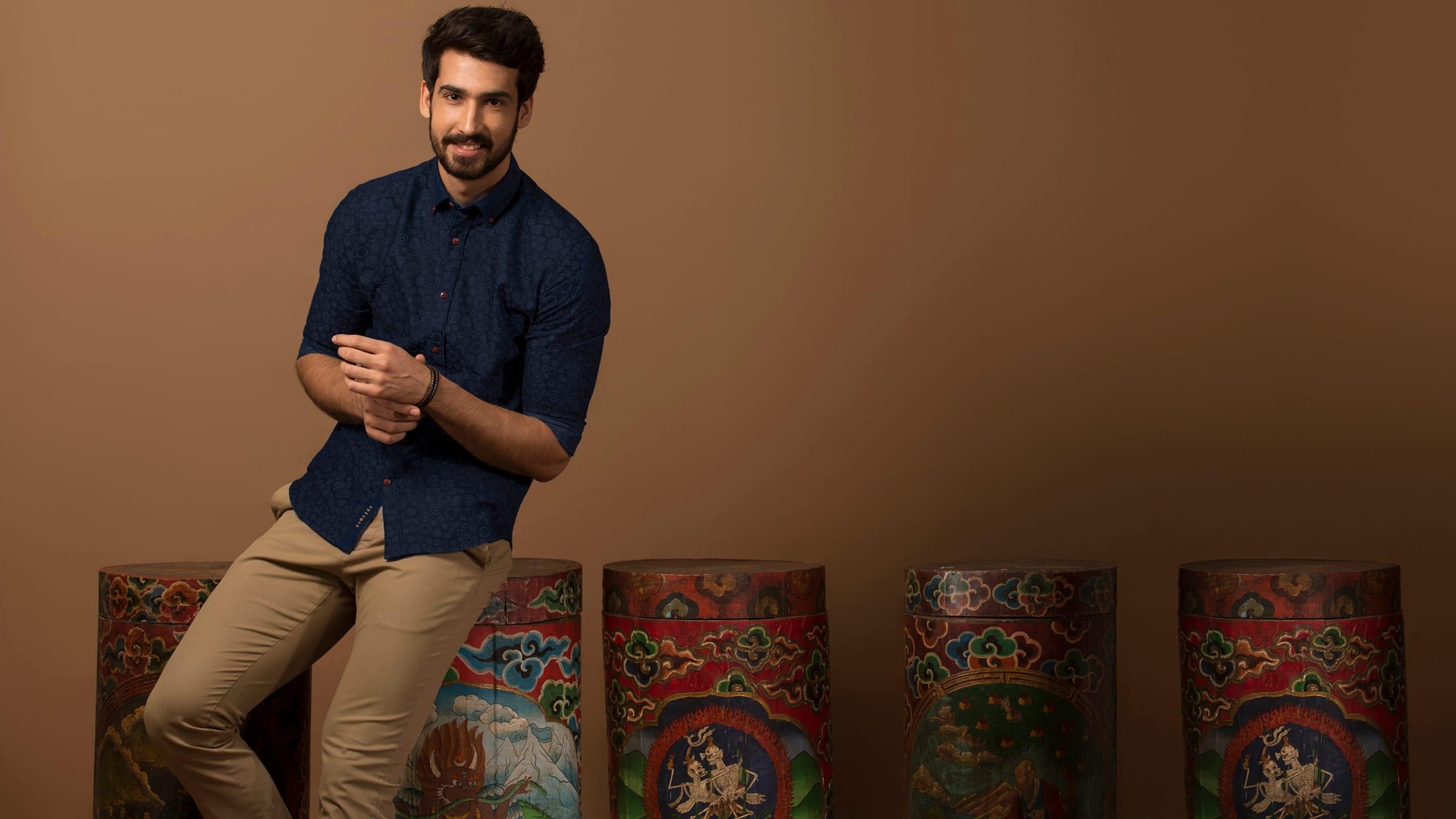 Buy Seven Chakras Jacquard  shirt online