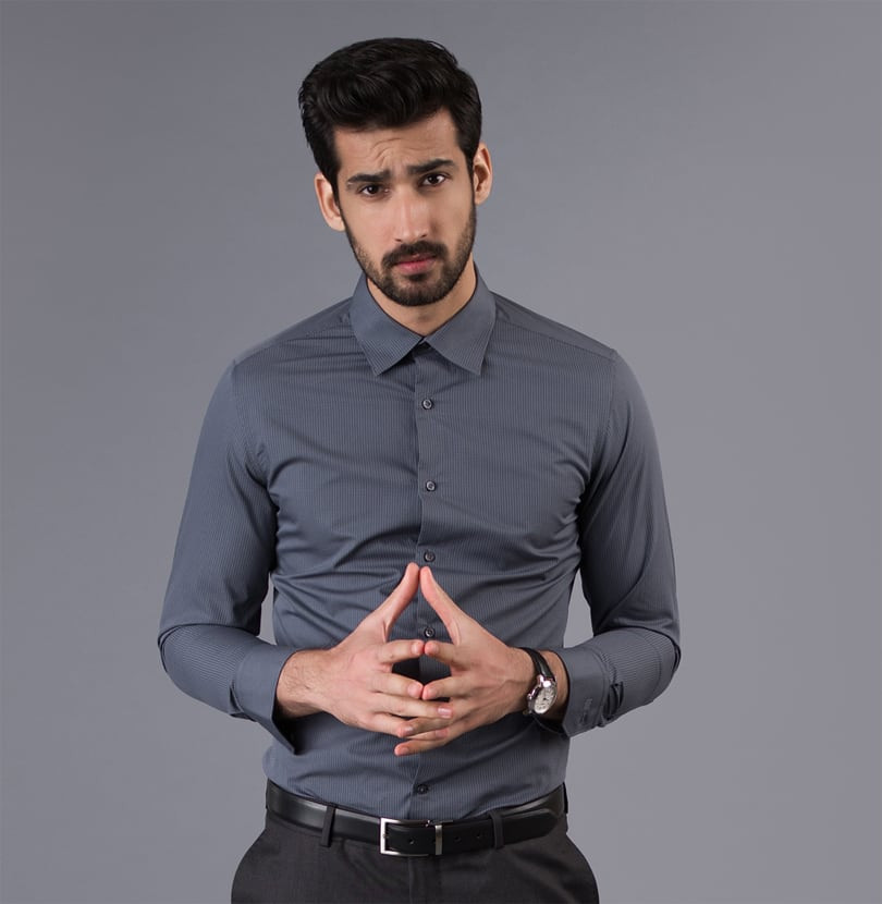 Charcoal Check Branded Designer Shirts for Men