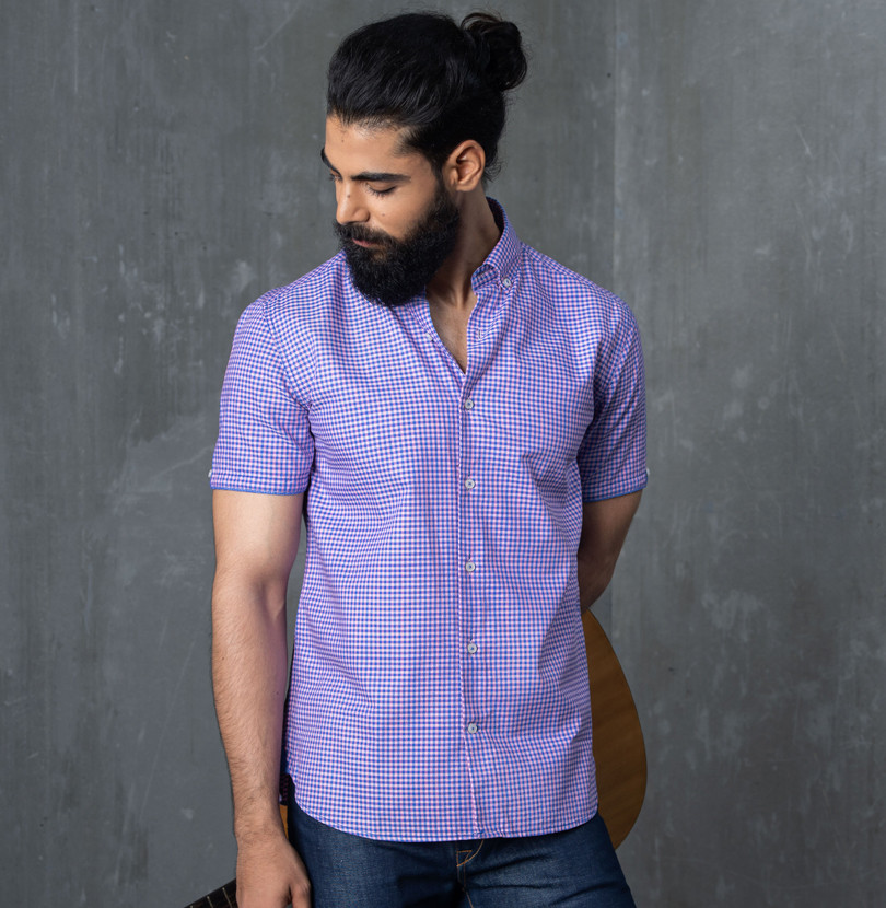 Purple Checkerboard Branded Designer Shirts for Men