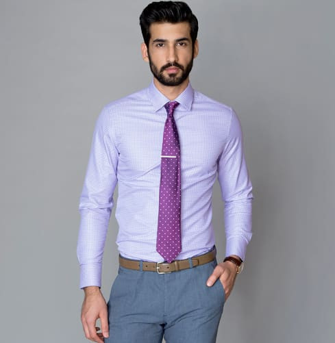 Purple Dobby Branded Designer Shirts for Men