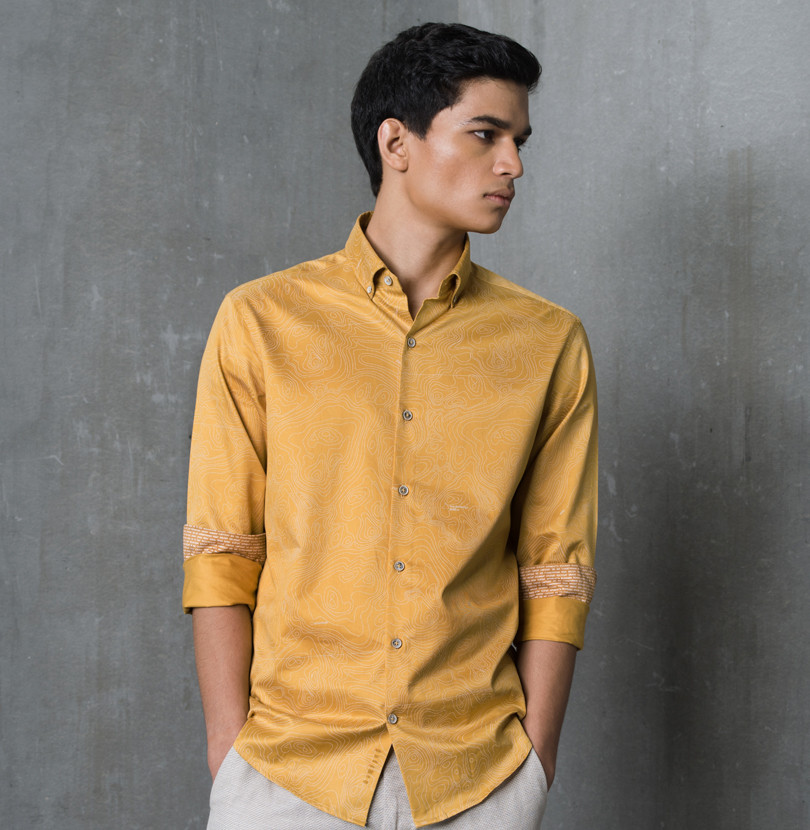 Space Base Mustard Branded Designer Shirts for Men