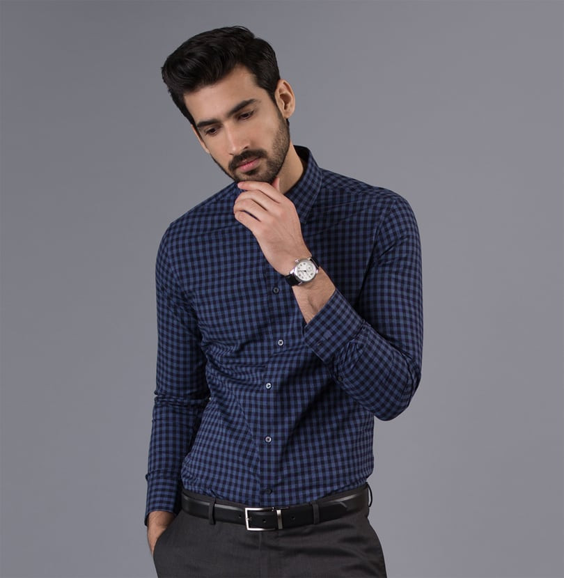 The Navy Grid Branded Designer Shirts for Men