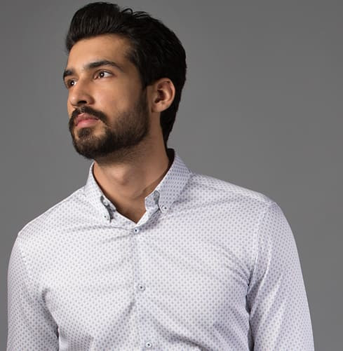 Triangle Prints White Branded Designer Shirts for Men