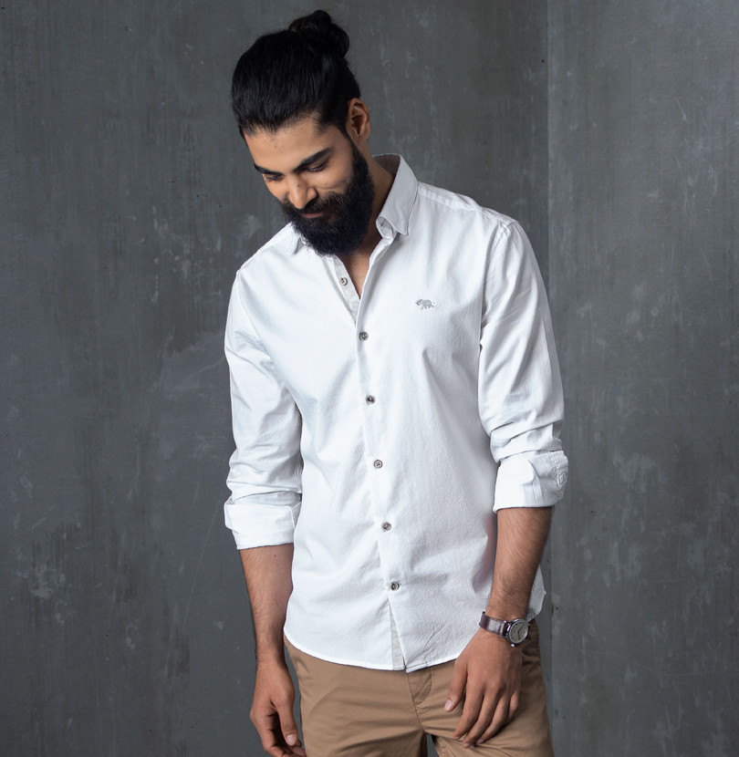 Vanilla Seersucker Branded Designer Shirts for Men