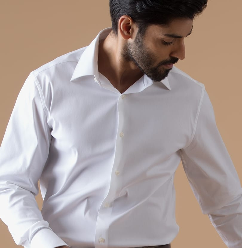 Stretch White Branded Designer Shirts for Men