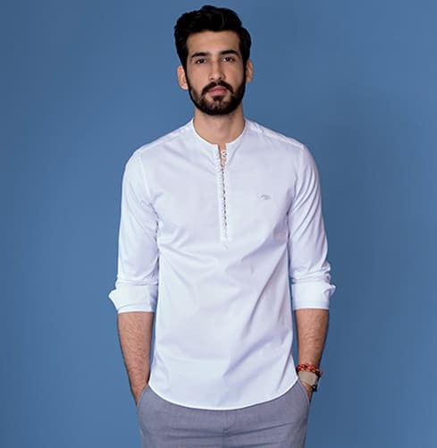 White Rajan Popover Branded Designer Shirts for Men