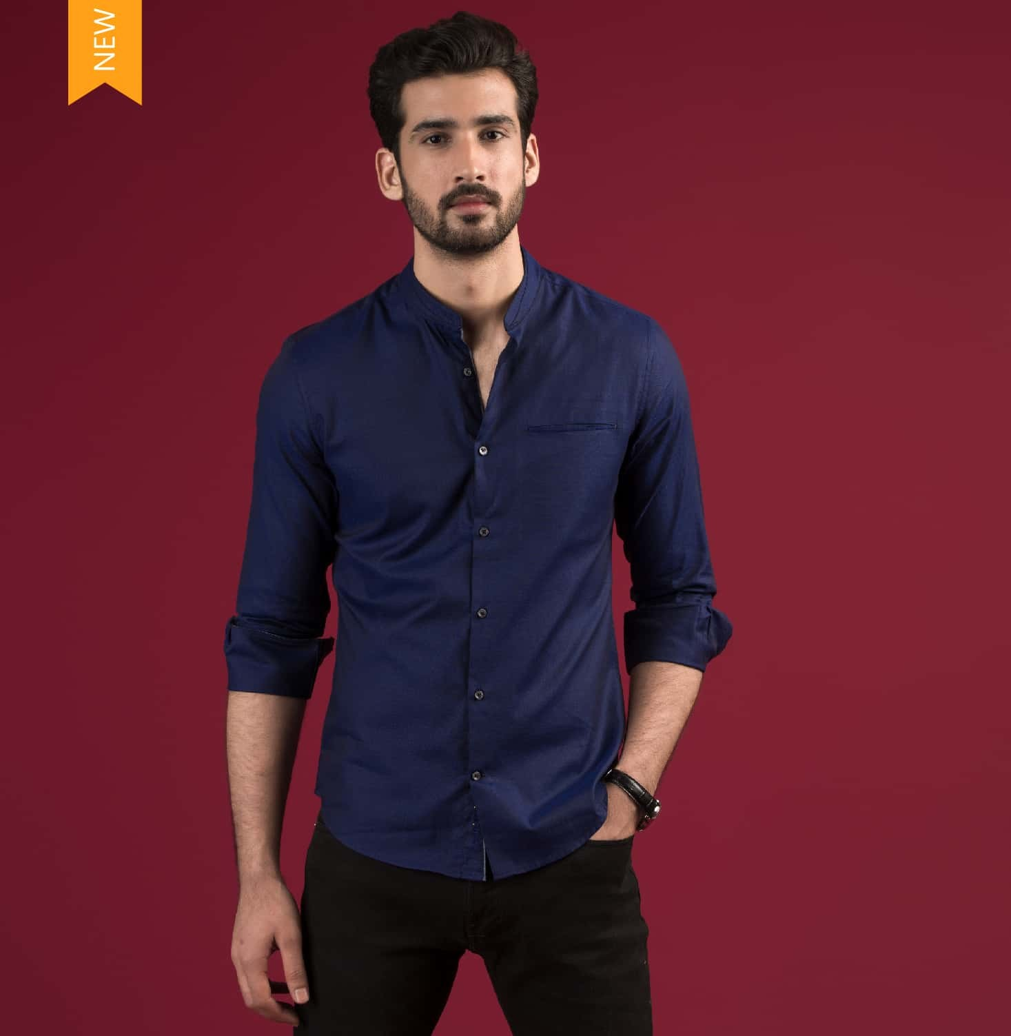 Navy Nehru Branded Designer Shirts for Men