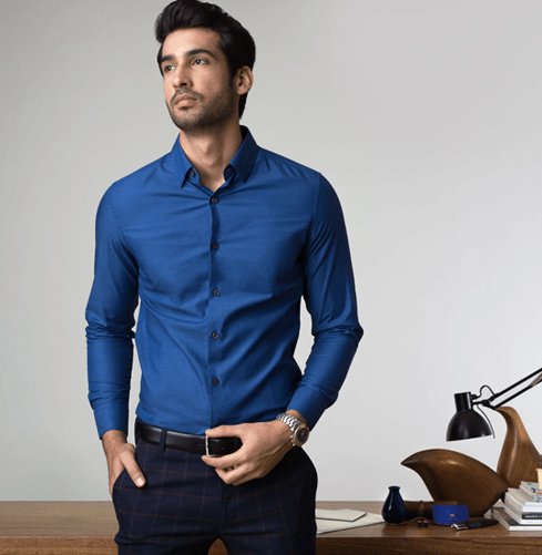The Navy Herringbone Branded Designer Shirts for Men