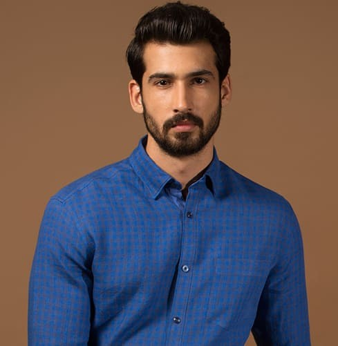 Linen Staple Blue Branded Designer Shirts for Men